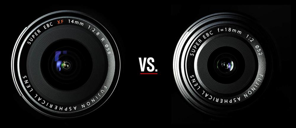 Left: Fujinon XF 14mm 1:2,8 R; Right: Fujinon 18mm 1:2