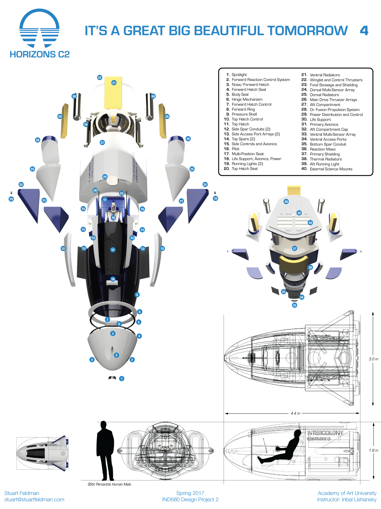 Here is the exploded view of the vehicle. I had an especially fun time fleshing out the aft compartment of the vehicle, including  Dr. Fusion  and its accompanying systems. The bottom of the board shows dimensions of the vehicle with a 95th percentile human male for scale.