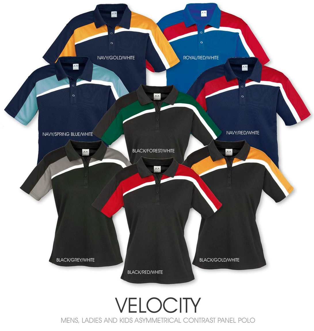 Velocity men's ladies and kids asymmetrical contrast panel polo.jpg