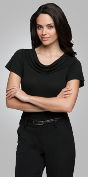 2227      eva cowl short sleeve   $65.90    100% high twist polyester    black    SIZES  : XXS   XS   S   M L   XL   2xL   3xl 4xl