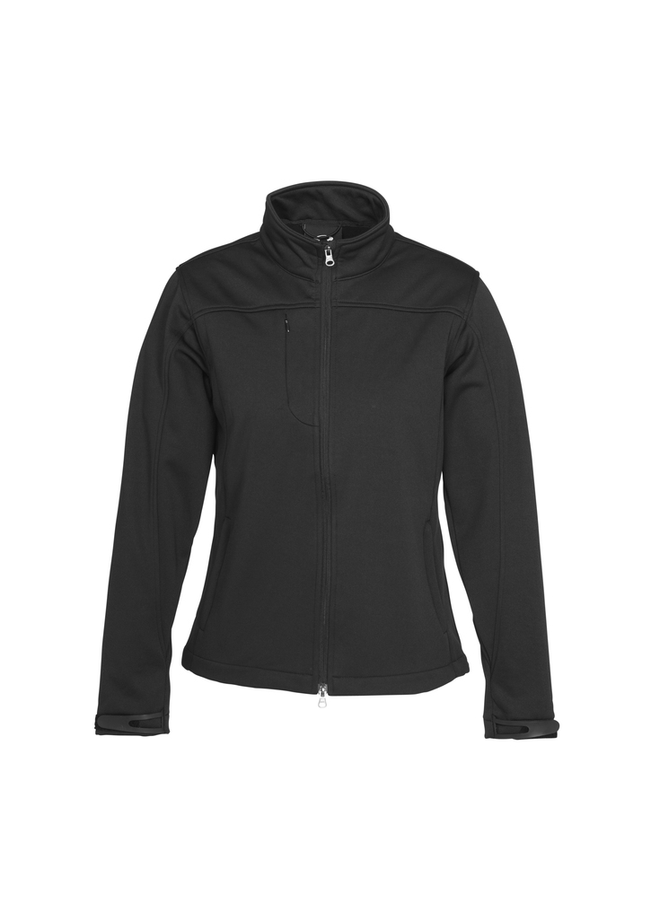 j3825      ladies soft shell jacket    $98.90  100% bonded polyester I poly knit lining I wind flap chin guard I 2 concealed zip pockets I adjustable Velcro cuff closures I Water repellent  I    Black  windproof  SIZES :   S   M   L   XL   2XL