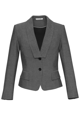 60315  CROPPED JACKEt  $159.45  63% POLYESTEr 33% VISCOSE 4% ELASTANE  grey   SIZES : 4 6 8 10 12 14 16 18 20 22 24 26