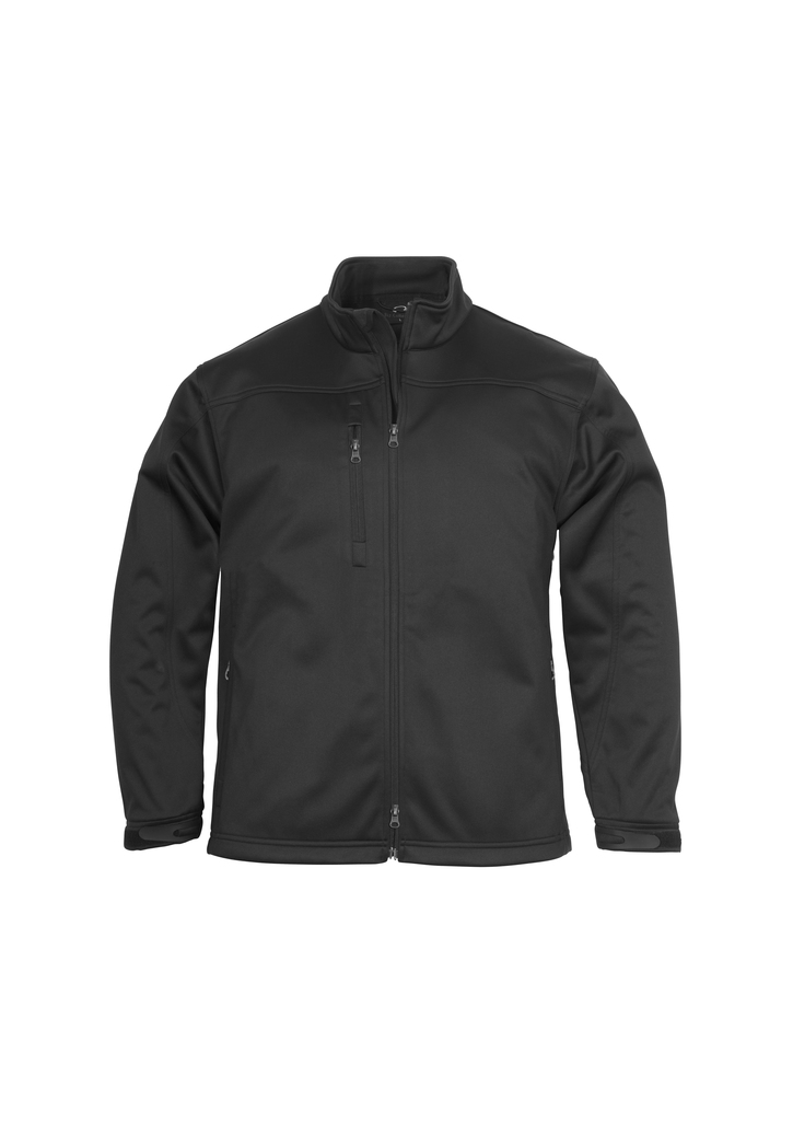 j3880      MEN'S biz tech soft shell jacket   I   $98.90  100% bonded polyester I poly-knit linking I wind flap I chin guard I 2 concealed zip pockets I adjustable Velcro cuff closures I water repellent I windproof   i  Black   SIZES  : S  M  L  XL  2XL  3Xl  5XL