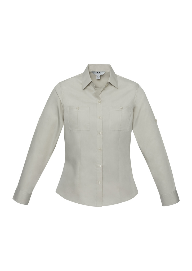 S306LL      LADIES Poplin Shirt                                               65% POLYESTER I 35% cotton    sand    SIZES  : 6   8   10   12   14   16   18   20   22   24