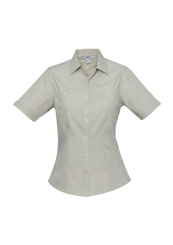 S306ls      LADIES poplin shirt   85% polyester 35% cotton I  sand    SIZES  :  6   8   10   12     1  4   16   18   20   22   24