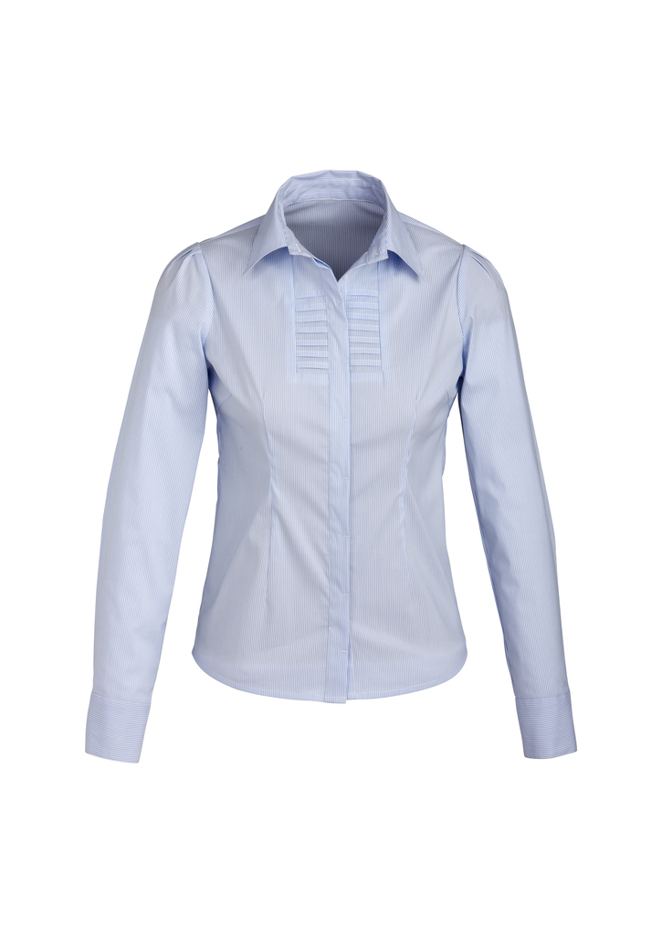 s121ll    LADIES berlin l/s shirt  61% cotton 35% POLYESTER 4%elastane  I  blue    SIZES  :   6   8   10   12     1  4   16   18   20   22   24   26