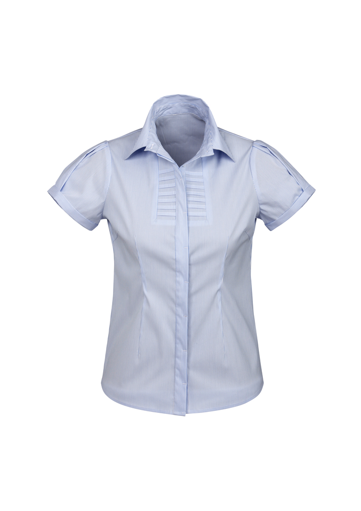 S121Ls   LADIES BERLIN s/S SHIRT   61% COTTON 35% POLYESTER 4%ELASTANE  I  BLUE    SIZES  :   6   8   10   12     1  4   16   18   20   22   24   26