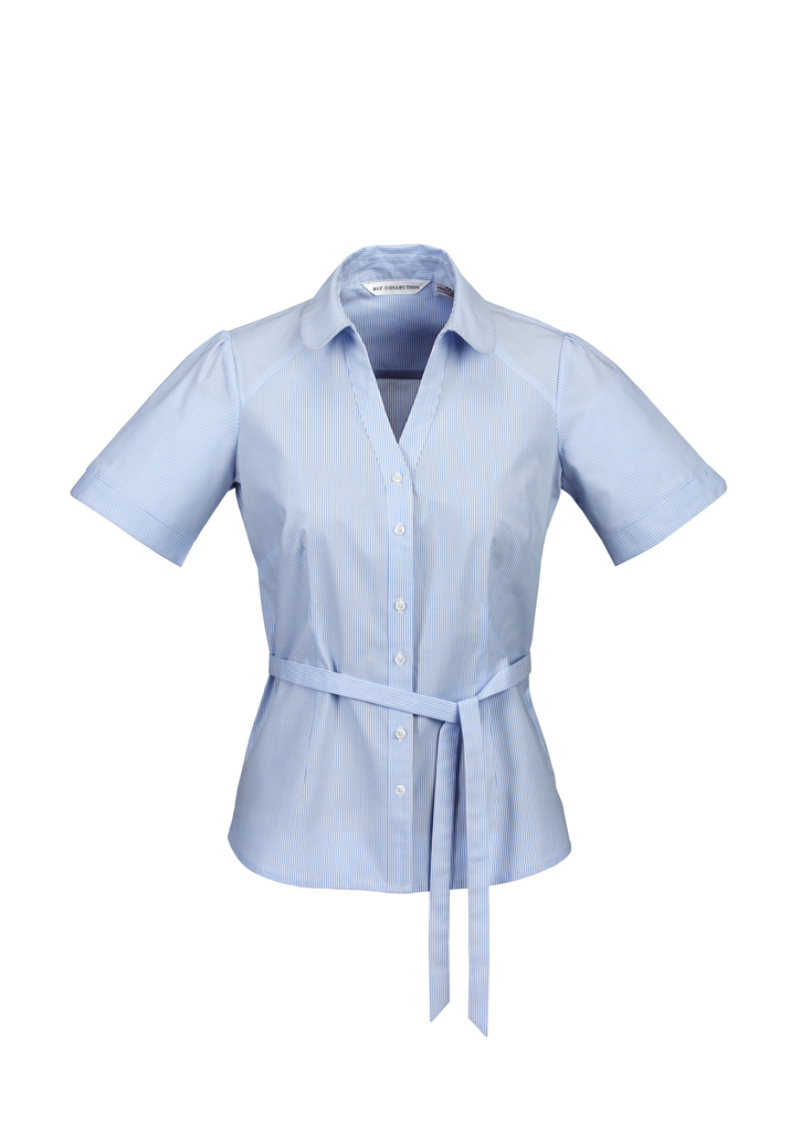 s261ls    LADIES y-line shirt  61% COTTON 35% POLYESTER 4%ELASTANE  I  BLUE    SIZES  :  6   8   10   12   14   16   18   20  22  24  26