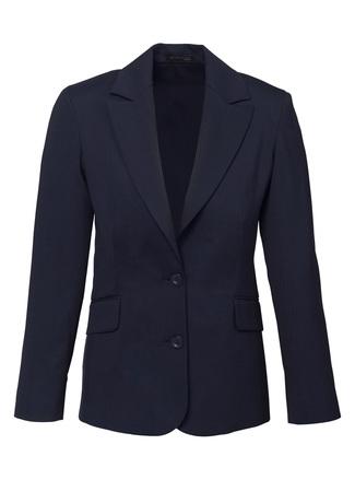 64012   LADIES longline jacket  55% polyester i 43% wool I 2% elastane I  navy   SIZES  : 4  6  8  10  12  14  16  18  20  22  24  26