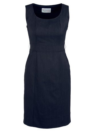 30211 LADIES Pinstripe shift dress  92% polyester I8% bamboo I  navy pinstripe   SIZES  : 4  6  8  10  12  14  16  18  20  22