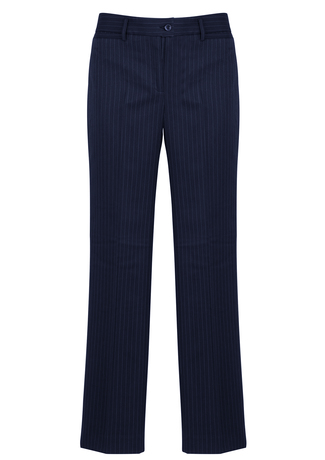 10211      ladies relaxed fit pants   92% polyester 8% bamboo i  navy pinstripe    SIZES  : 4  6  8  10  12  14  16  18  20  22  24  26