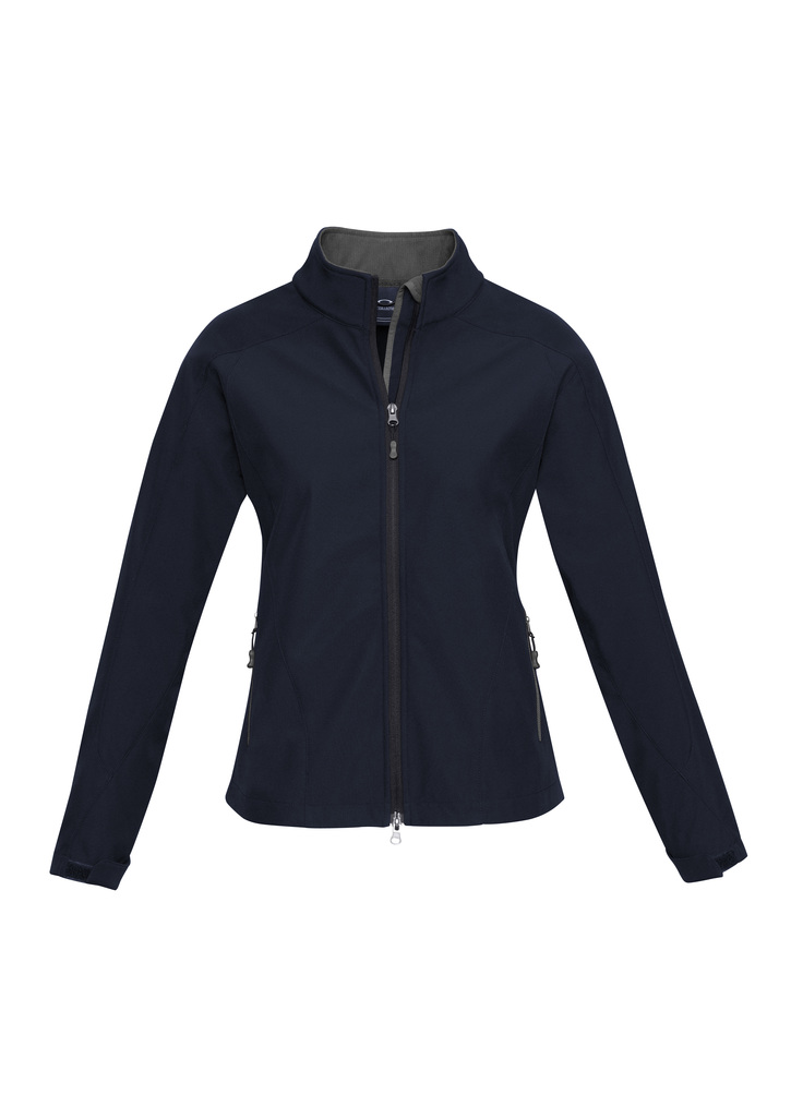 j307L      ladies soft shell jacket i  navy graphite  100% breathable  polyester    SIZES :   S   M   L   XL   2XL