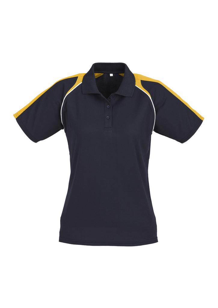 P225ls  Ladies Ladies Polo 50% Cotton Inner 50% Biz Cooli  Navy gold white   SIZe  8  10  12  14  16  18  20  22  24