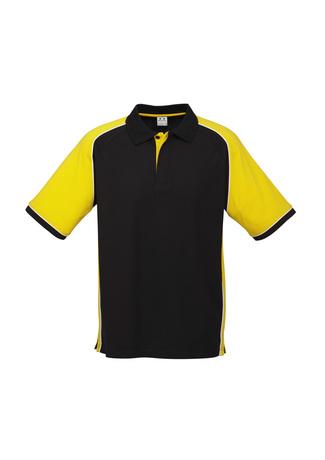 P10112  Men's polo   $27.90  65% Polyester  35% Cotton Pique Knit   Black/yellow   sizes:  s  m  l  xl  2xl  3xl  5xl