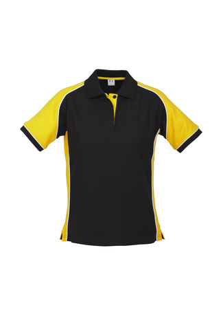 P10122     Friday Polo      $27.90  65% Polyester   35% Cotton Pique Knit  Black/yellow sIZES  :  8   10   12     1  4   16   18   20   22   24