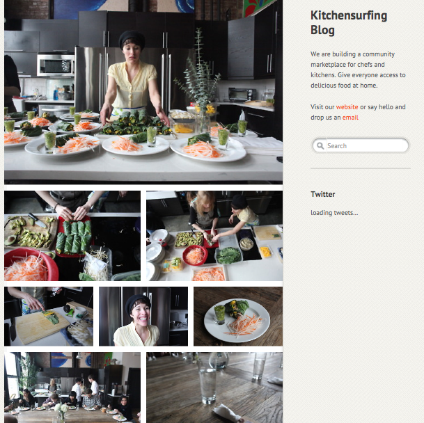 Featured on Kitchen Surfing's Blog as a featured Chef