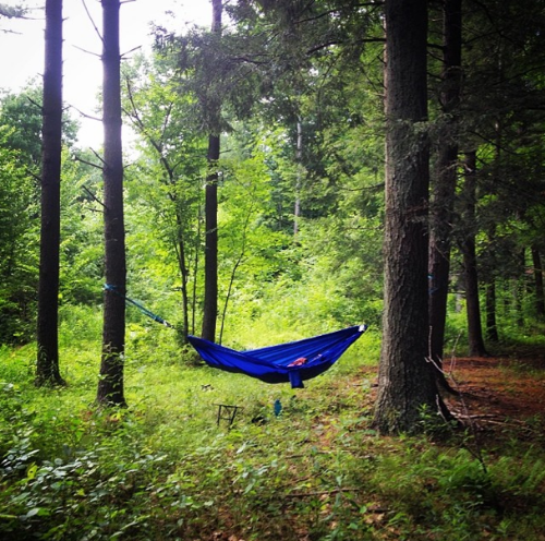 Relaxing in our new camping hammock upstate.