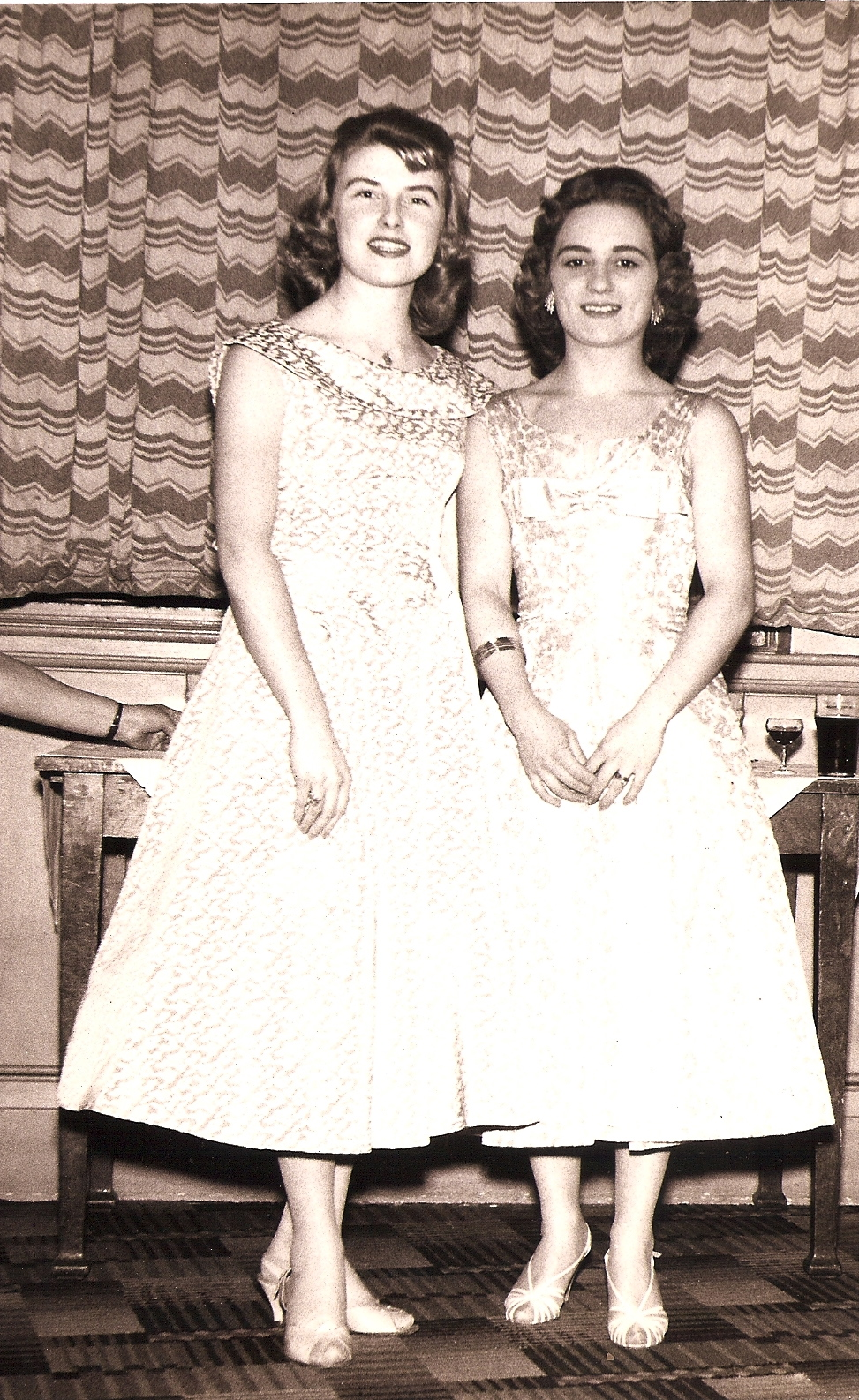My Mum (left) and her friend, later my Aunt Sylvia in dresses made by my Nan. My Mum was a court dressmaker for John Cavanagh, she never stops teaching me.