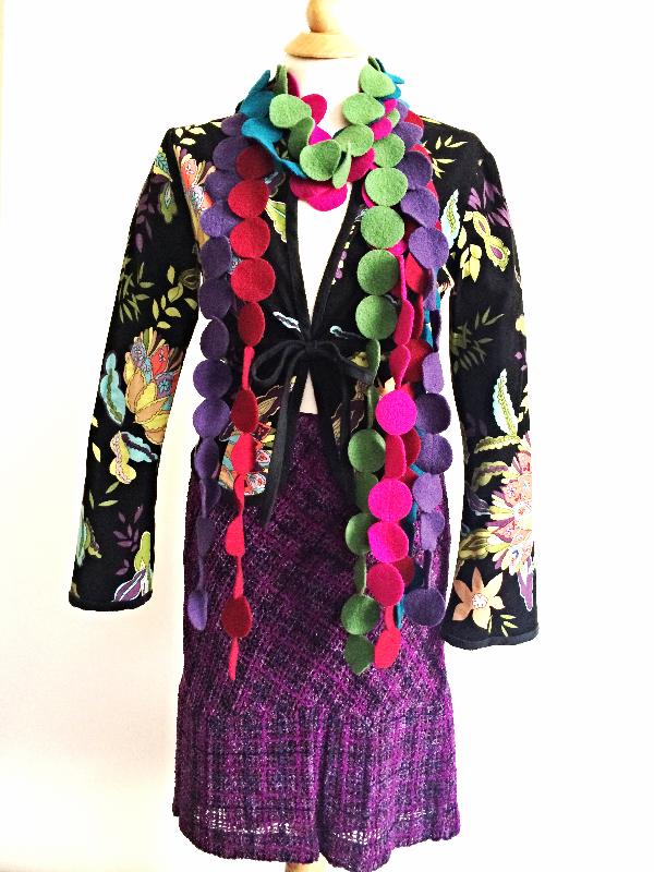 Trina Turk Corduroy Jacket    Anna Sui Tweed Skirt    MOMA Felt Circles Scarf