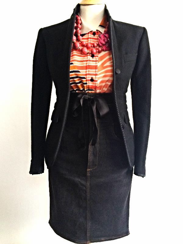 Thom Browne Blazer    Tory Burch Silk Blouse    Vintage JPG Denim Skirt    Beads & Enamel Flower Necklace