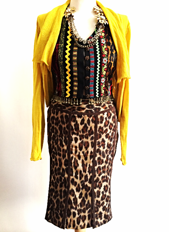 Gold Cotton Cardigan    Vintage Todd Oldham Vest    Tracy Reese Leopard Pencil Skirt    Flowers & Chains Necklace