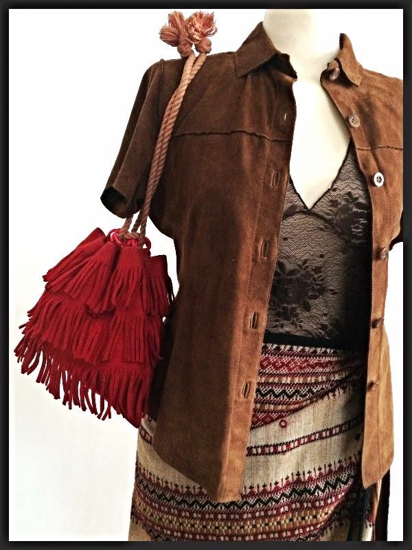 Vintage Suede Button Up   Striped Blanket Wrap Skirt   Vintage Felt Fringe Bag