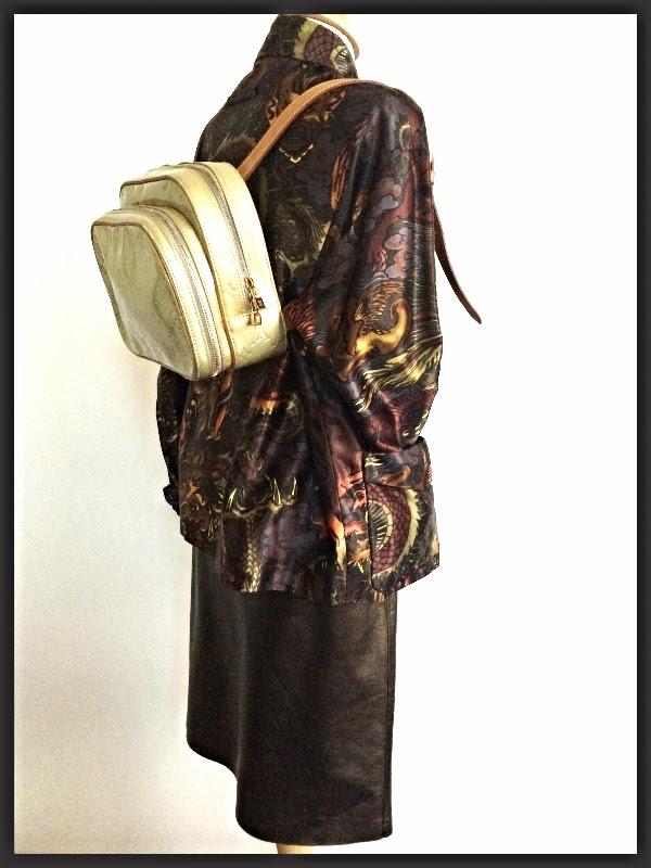JPG Vintage Dragon Jacket   Theory Bronze Leather Skirt   LV Monogram Vernis Bag
