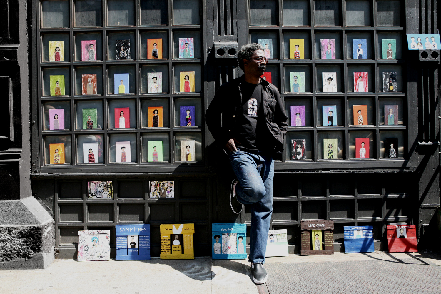 Patrick-Earl Barnes and his Art of Fashion Folk on Broome Street in New York City.