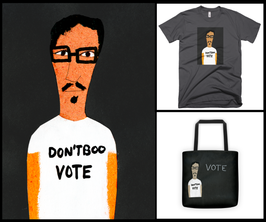 Clarence  and his T-shirt and Tote, to help get out the vote.