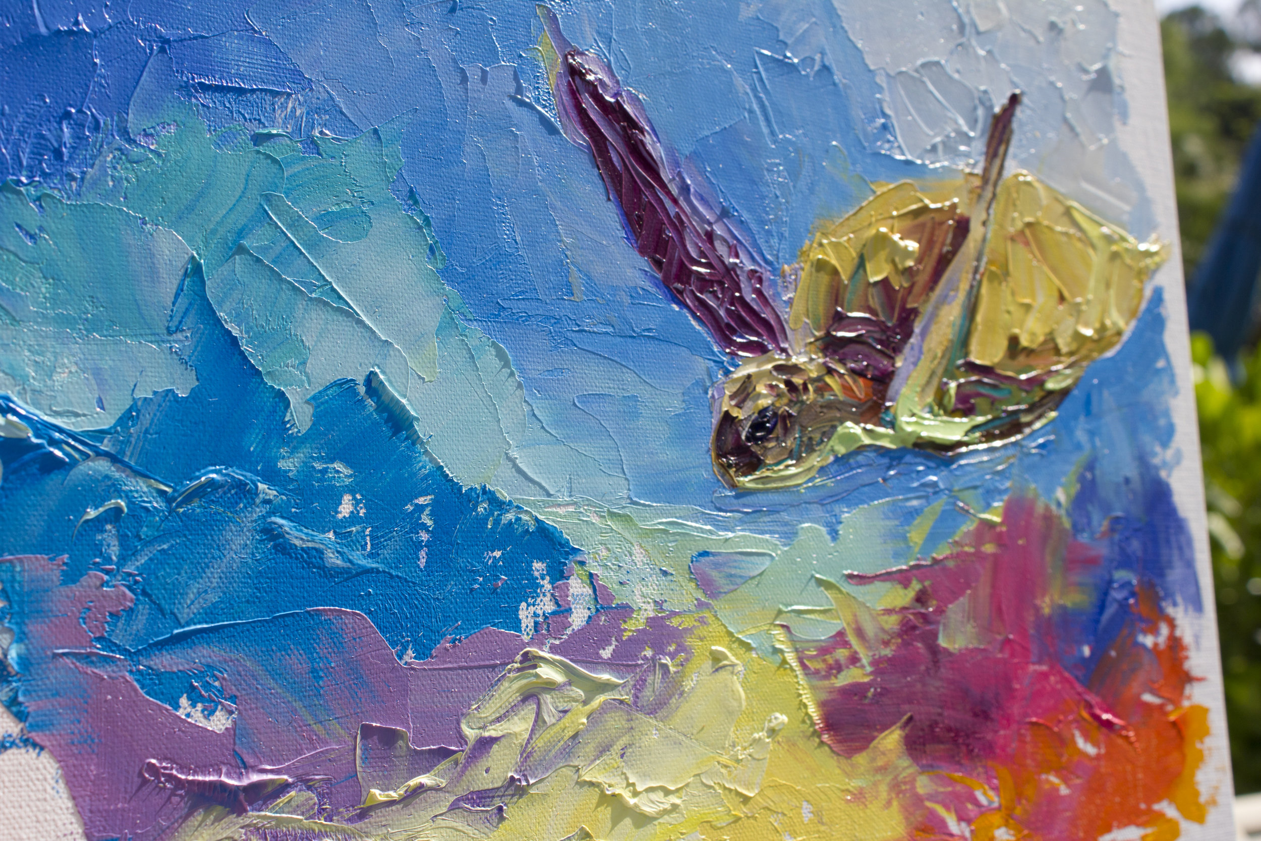 """Sea Turtle with Coral 3"" Oil on Panel SOLD"