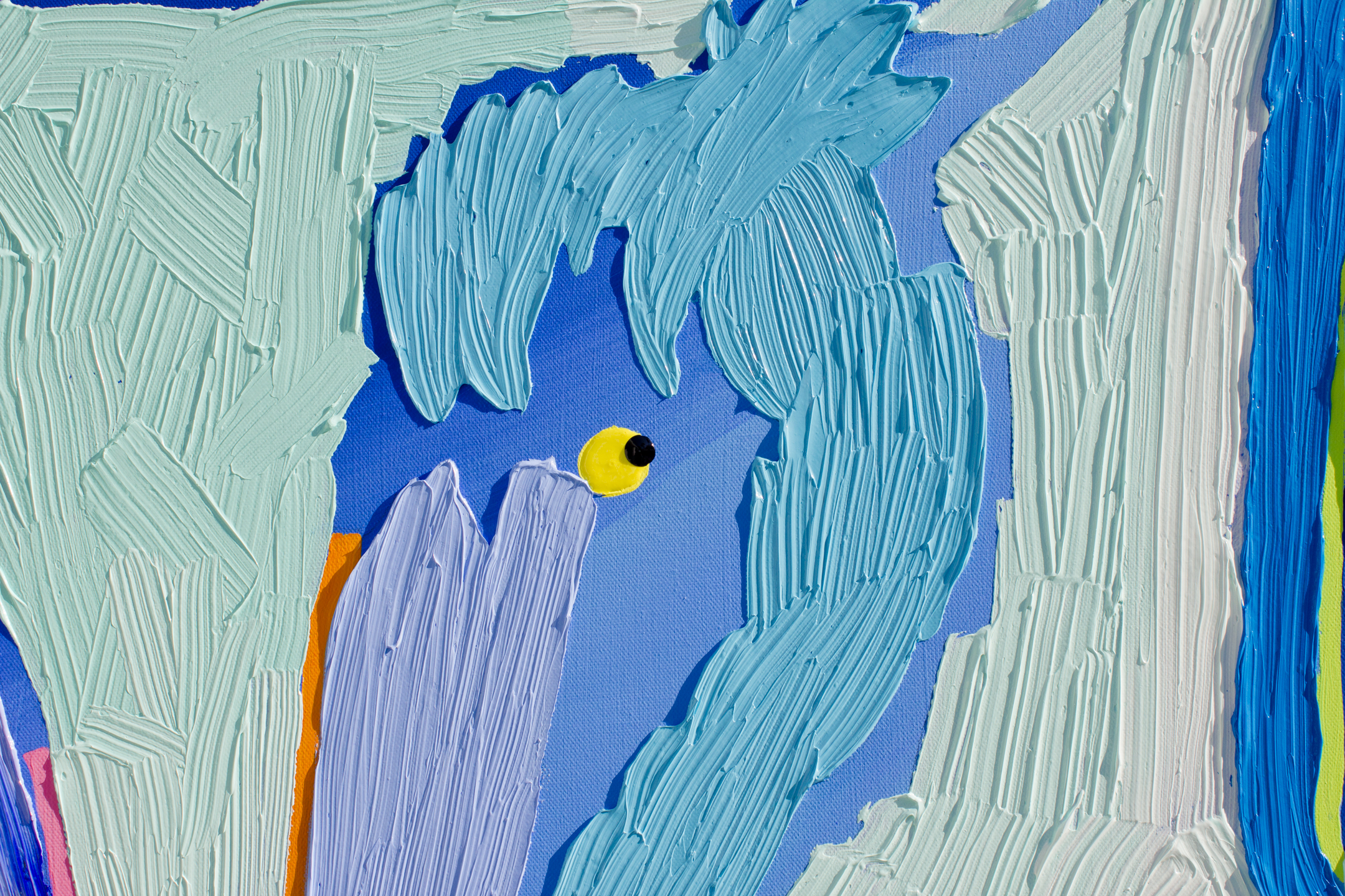 """Beachy Blue Pelicans"" Detail, SOLD"