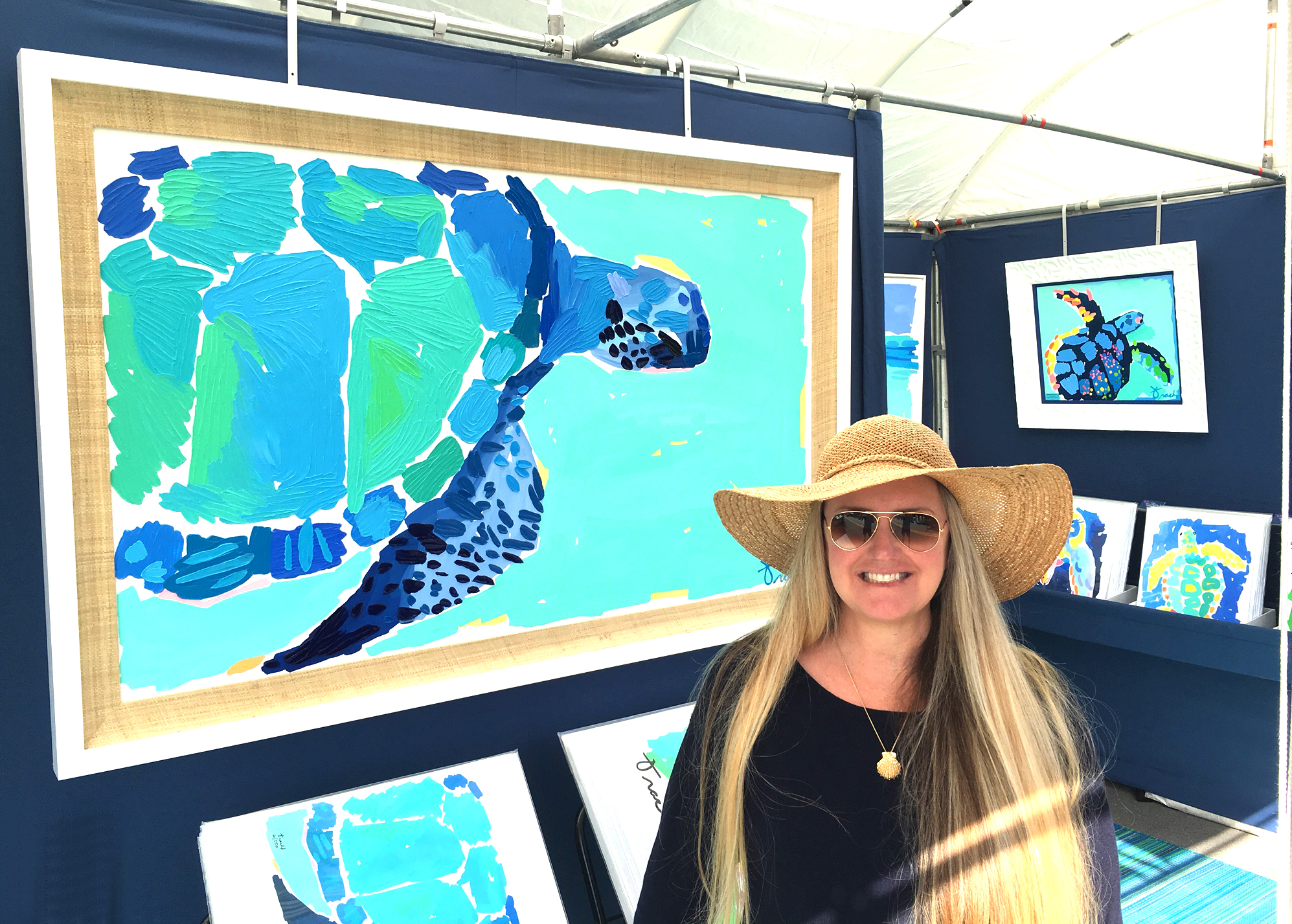 "Kelly Tracht with ""Bahama Waters Turtle"" SOLD"