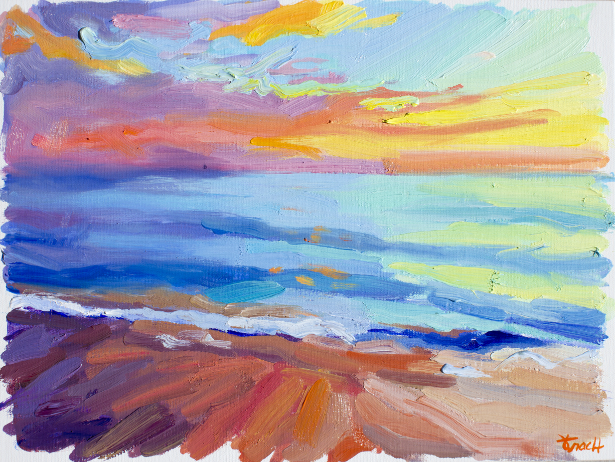 """Sunrise at Juno Beach 1"" OOAK, Oil, Available"