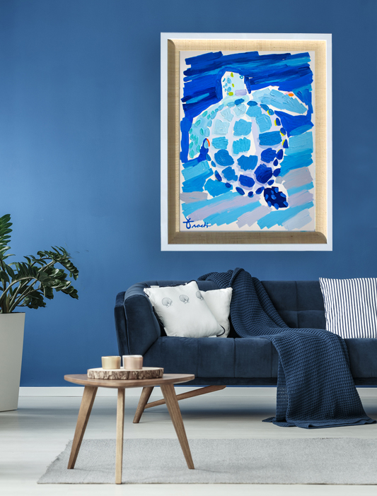 """Alligator Reef Blue Turtle 1"" Available, Acrylic"