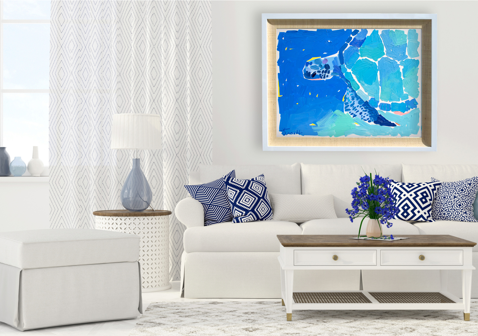 """Alligator Reef Blue Turtle 2"" Available, Acrylic"