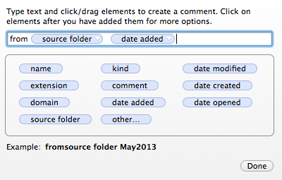 Detail on the naming of the comments coming for the folder names