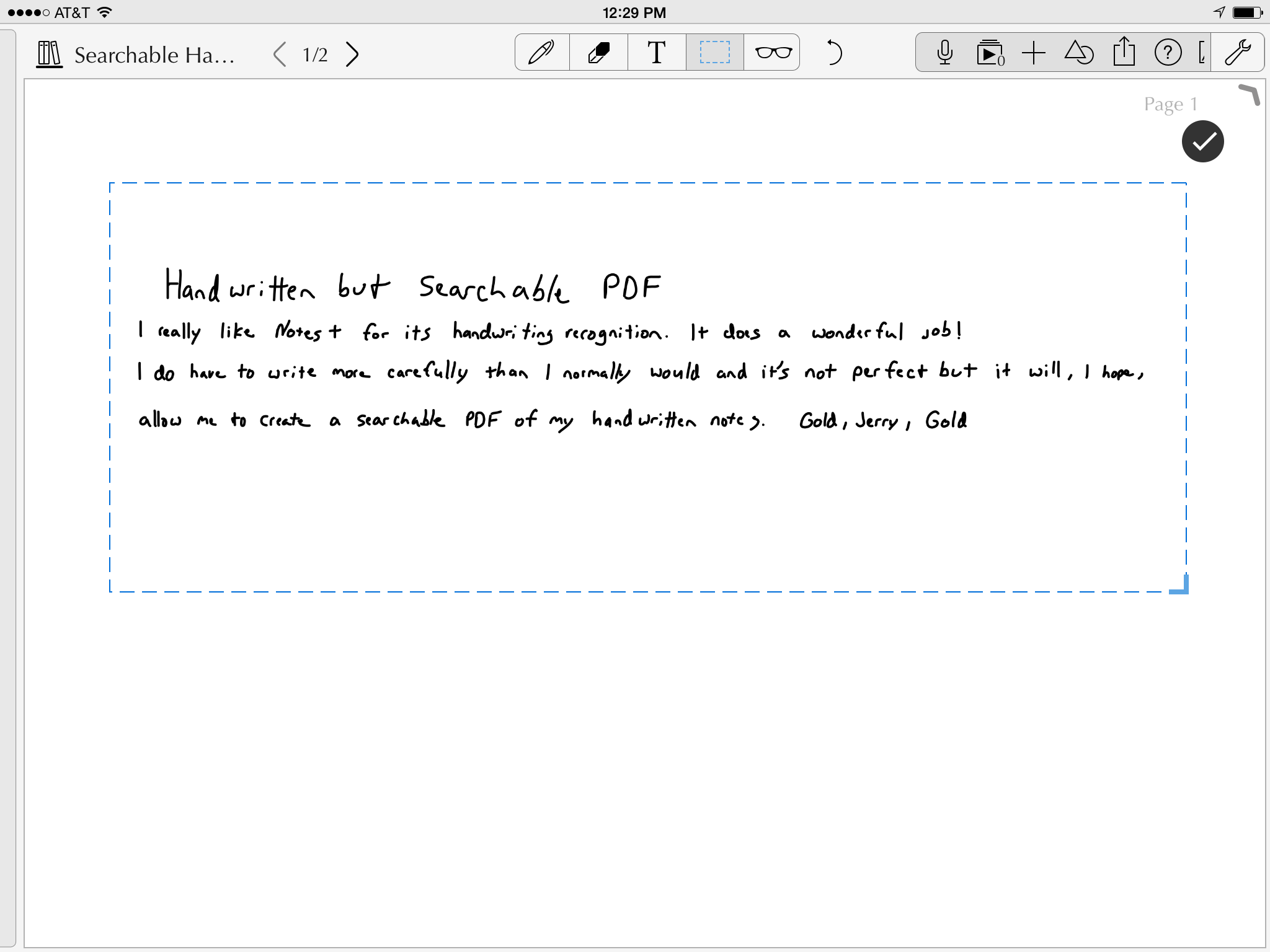 Use the dash box selection tool to select your handwriting and tap the check mark