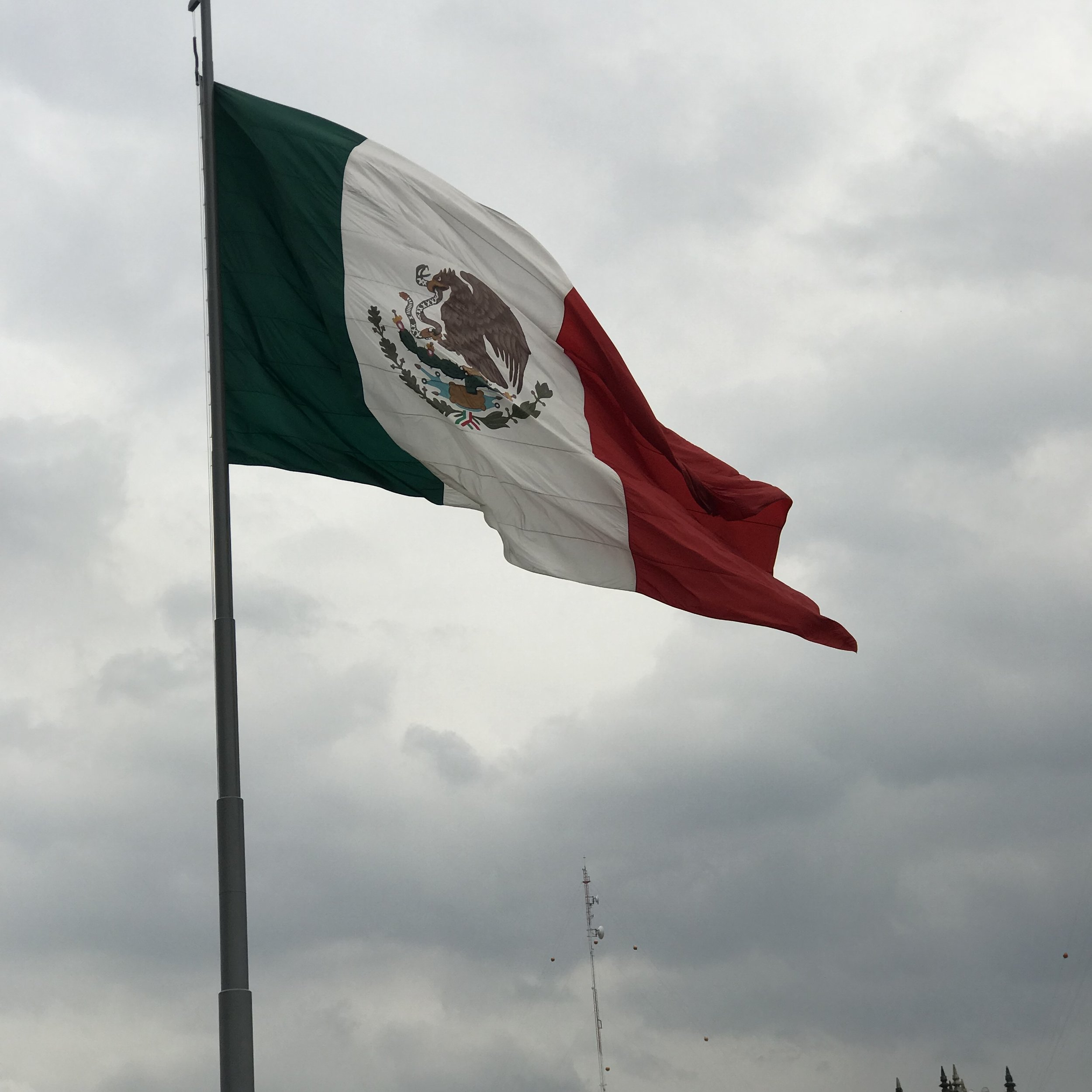 The Mexican flag at the Zócolo, June 2018