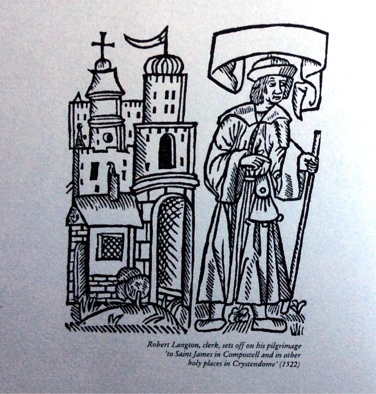 Woodcut of Robert Langton, clerk, setting off on his pilgrimage