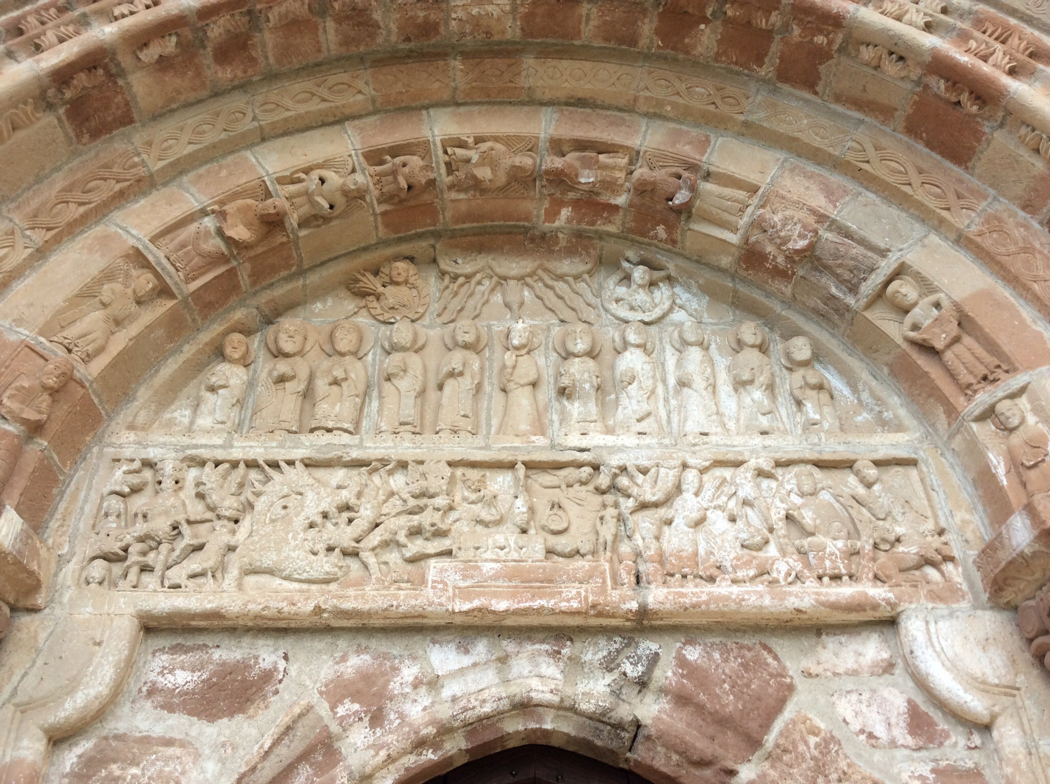 This sculpture over the church's doorway is unusual as it depicts, not the final judgment scene, as is typical, but the day of Pentecost.
