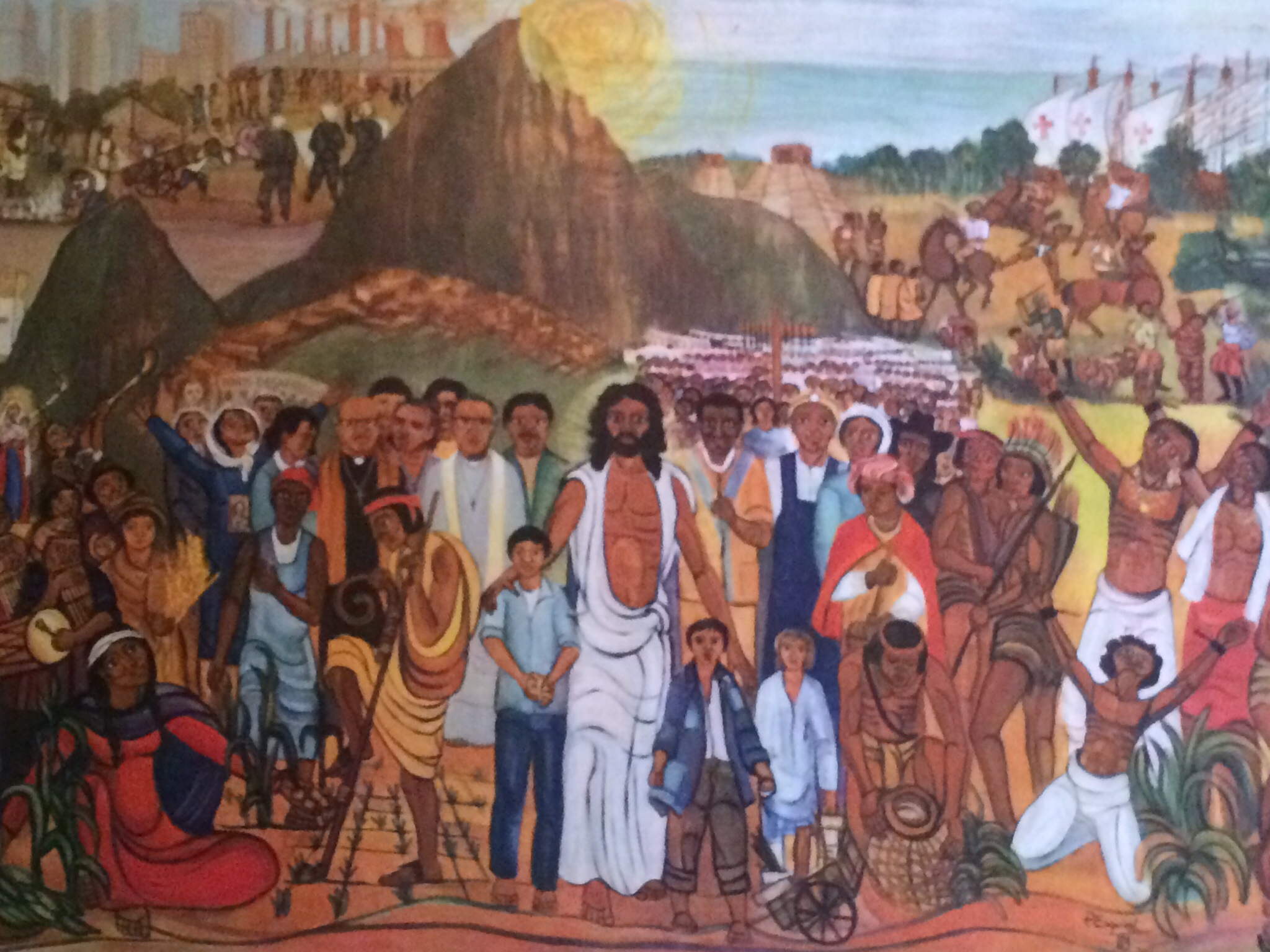 The church in Lauzerte had this painting of Jesus welcoming all indigenous peoples.