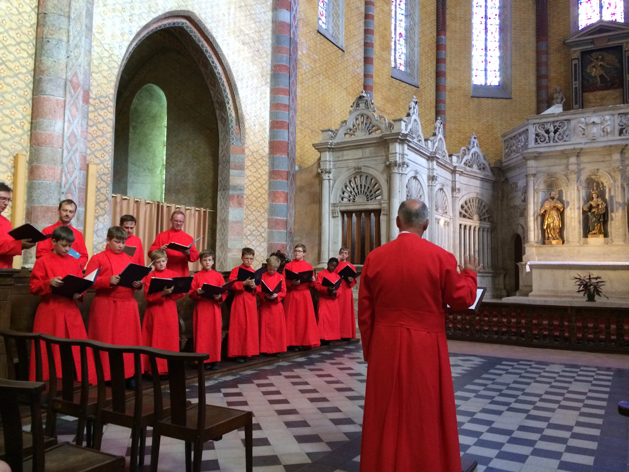 This is one half of the Ely choir in the cathedral - all m en and boys and they sound wonderful.