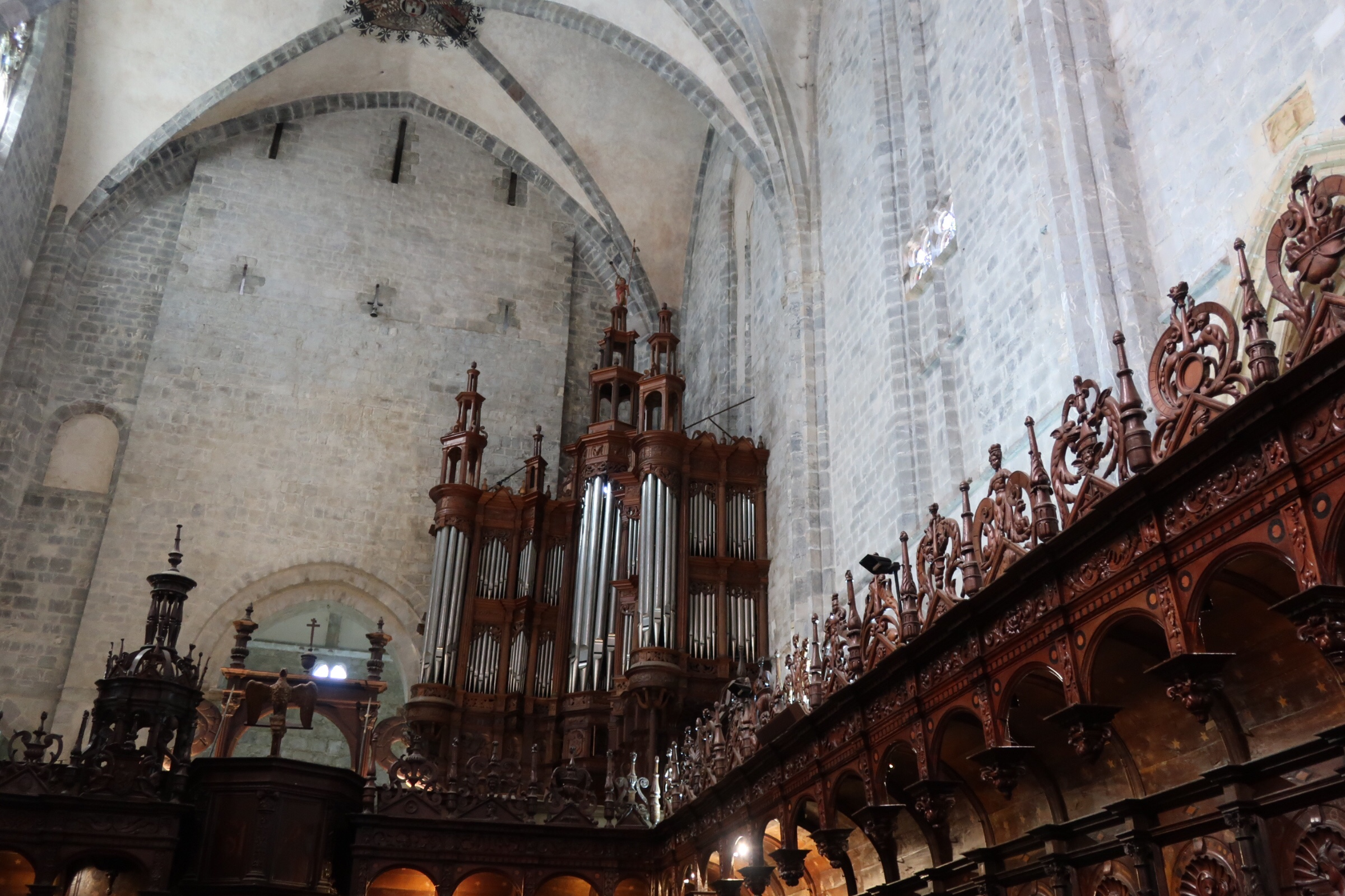 One view from the choir toward the massive organ.