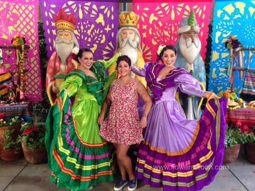 Three Kings photo area. Loved the dancers' pretty dresses and make-up