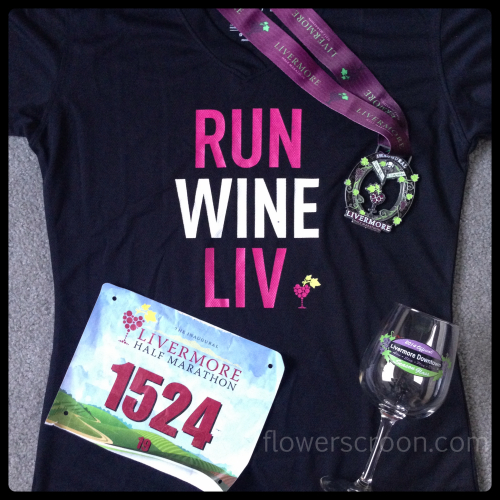 Bib, shirt, glass, medal. Nicely done, Livermore!