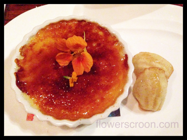 créme brûlée dessert at Jiko