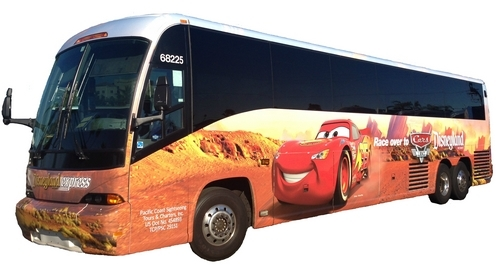 The Disneyland Resort Express buses look like this. Don't be fooled by other buses at the airport!