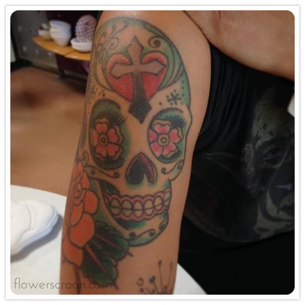 My sugar skull tattoo is a pretty & dainty gal