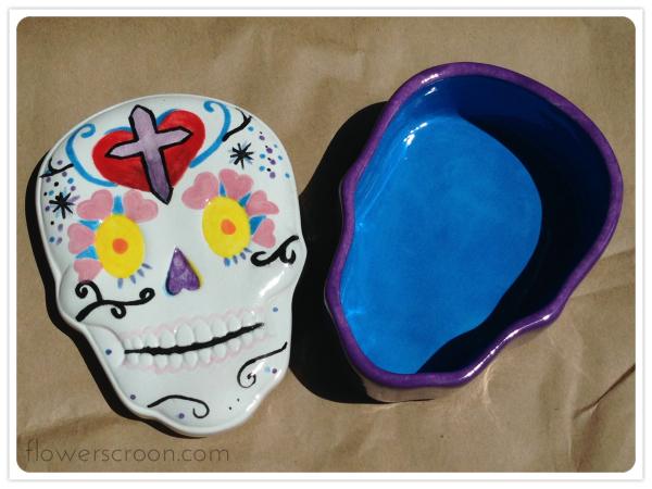 Sugar skull box lid and box