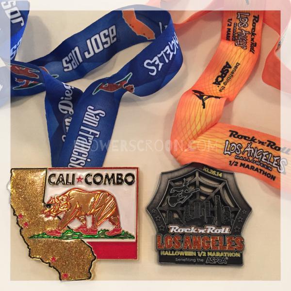 Rock 'n' Roll Los Angeles Halloween Half Marathon cali combo medal.jpg